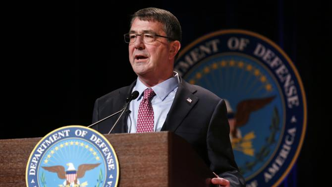 Defense Secretary Ash Carter delivers remarks at a ceremonial swearing in ceremony at the Pentagon in Washington