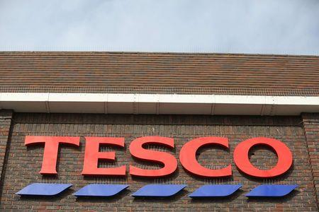 A sign spells out the store name on a Tesco store in Bow, east London