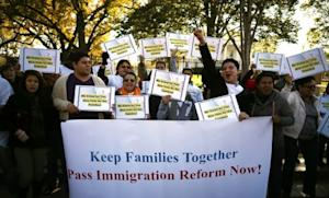 Pro-immigration reform protesters demonstrate in front of the White House on Nov. 8.