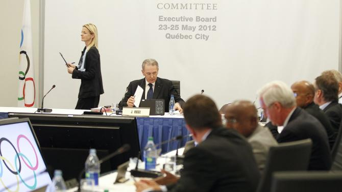 Jacques Rogge, president of the IOC, looks at his notes as the members of the IOC Executive Board wrap up a meeting during the SportAccord conference in Quebec city Wednesday May 23, 2012. SportAccord promotes communication and cooperation among various international sports federations. (AP Photo/Mathieu Belanger, Pool)