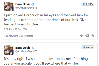 49ers RT wishes Jim Harbaugh the best on 'his next coaching job'