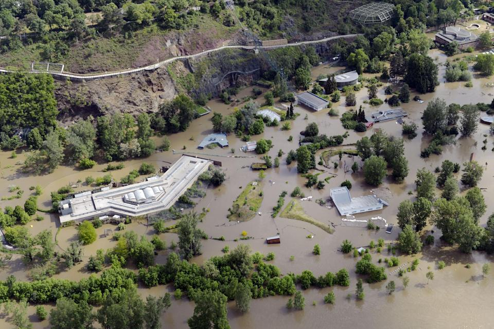 The Prague Zoo flooded by the swollen river Vltava photographed in this Tuesday June 4, 2013 aerial view. Heavy rainfalls caused flooding in in Germany, Austria, Switzerland and the Czech Republic. (AP Photo/CTK, Vit Simanek) SLOVAKIA OUT