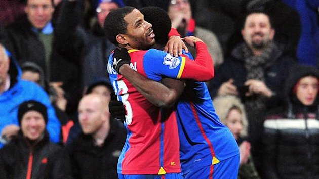 Crystal Palace's English midfielder Jason Puncheon celebrates scoring the only goal during the English Premier League football match between Crystal Palace and Hull City at Selhurst Park