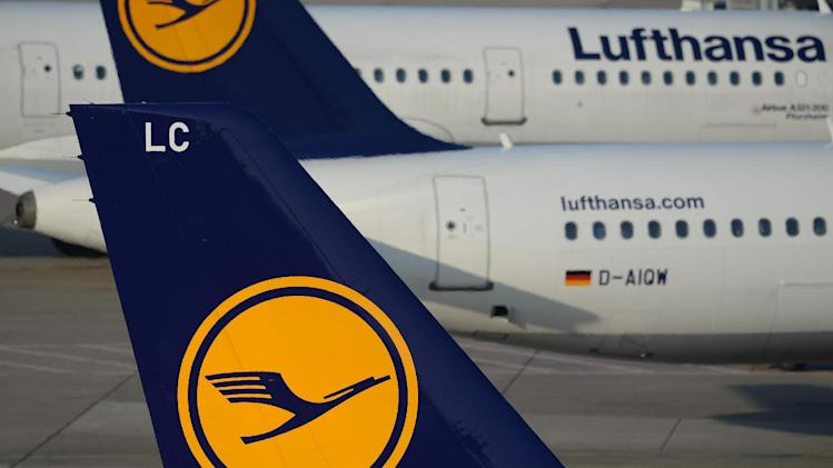 Planes of German airline Lufthansa wait on the airfield at Duesseldorf International airport, March 13, 2014, in Germany