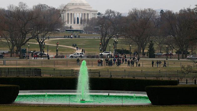 White House Fountain Dyed Green for St. Patrick&#39;s Day (ABC News)