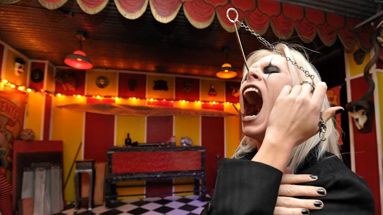 "IMAGE DISTRIBUTED FOR AMC - Performance artist ""Morgue"" performs on stage at a private viewing of AMC's ""Freakshow"", on Thursday, Jan. 17, 2013 in Venice, Calif. (Photo by John Shearer/Invision for AMC/AP Images)"