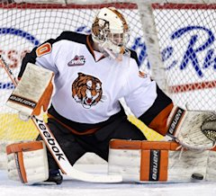 Medicine Hat goalkeeper Marek Langhamer is one of three 19-year-old goalies looking for playing time. (CP / Larry MacDougal)