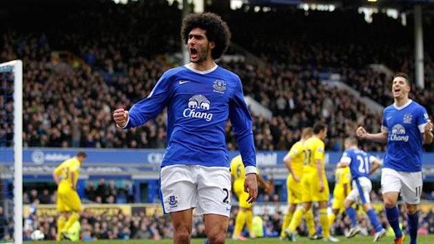 Marouane Fellaini celebrates scoring for Everton against Reading (PA Photos)