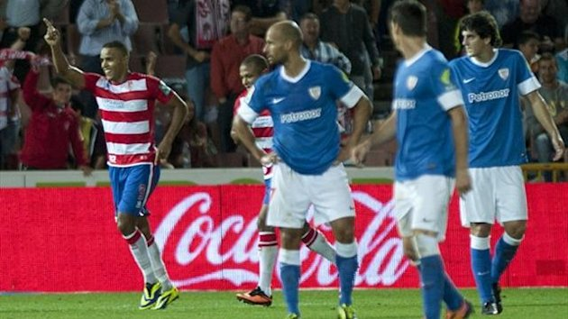 Granada's Moroccan forward Youssef El-Arabi (L) celebrates after scoring against Athletic Bilbao in La Liga (AFP)