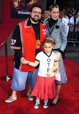 Kevin Smith , Jennifer Schwalbach Smith and daughter Harley at the Hollywood premiere of Disney and Pixar's The Incredibles