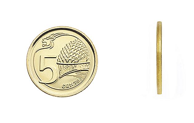 The 5-cent coin is made of multi-ply brass plated steel, has a plain edge pattern, and has a diameter of 16.75mm and a thickness of 1.22mm. The back design features the Esplanade, Singapore's iconic c