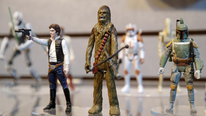 Star Wars figurines are displayed at the Hasbro showroom during the American International Toy Fair in New York, Tuesday, Feb. 18, 2014. (AP Photo/Seth Wenig)