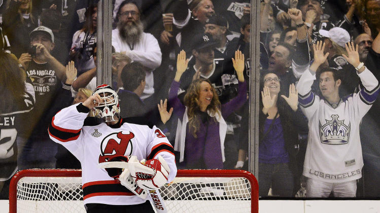 New Jersey Devils goalie Martin Brodeur (30) reacts in the third period during Game 4 of the NHL hockey Stanley Cup finals against the Los Angeles Kings, Wednesday, June 6, 2012, in Los Angeles.  (AP Photo/Mark J. Terrill)
