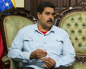 Venezuela's President Nicolas Maduro attends a meeting with South Africa's Foreign Minister Maite Nkoana-Mashabane in Caracas
