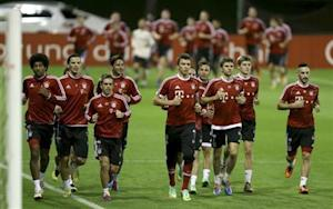 Bayern Munich's players participate in a training session at Aspire Academy for Sports Excellence in Doha