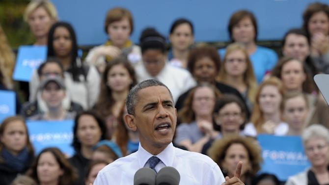 President Barack Obama speaks about choice facing women in the election during a campaign event at George Mason University in Fairfax, Va., Friday, Oct. 19, 2012. (AP Photo/Susan Walsh)