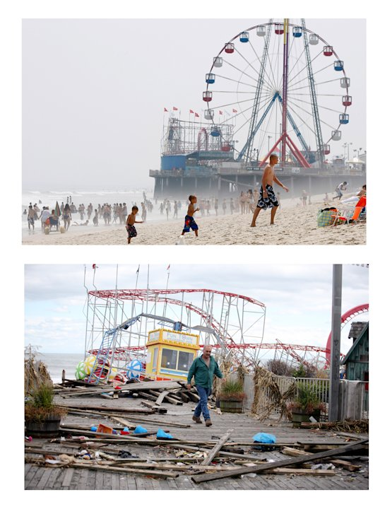 In this combination of two file photos, the Funtime Pier in Seaside Heights, N.J. is shown before and after superstorm Sandy made landfall on the Jersey Shore. At top in this Aug. 10, 2010 file photo,