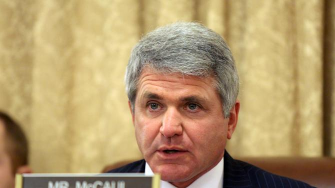 FILE - In this March 26, 2015 file photo, House Homeland Security Chairman Rep. Mike McCaul, R-Texas speaks on Capitol Hill in Washington. U.S. law enforcement officials expressed concern Wednesday about the growing use of encrypted communication and private messaging by supporters of the Islamic State, saying the technology was complicating efforts to monitor terror suspects and extremists.  (AP Photo/Lauren Victoria Burke, File)