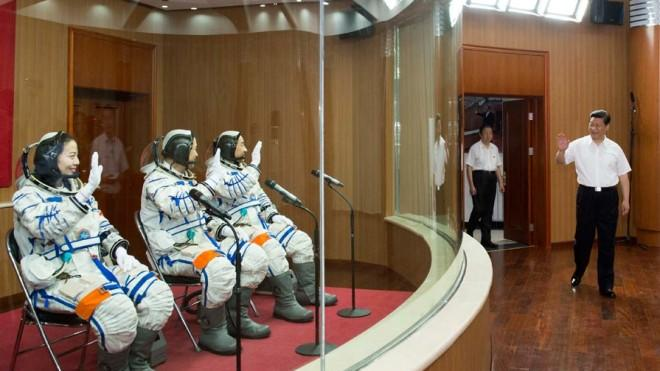 Chinese President Xi Jinping sees the latest set of astronauts off on June 11 ahead of their manned space mission.