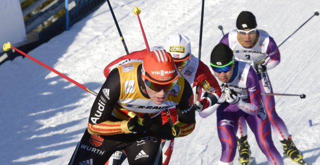 Germany's Eric Frenzel leads ahead of Norway's Haavard Klemetsen, Japan's Taihei Kato and Yoshito Watabe during the Nordic Combined individual Gundersen 10 km cross country skiing event at the FIS Wor