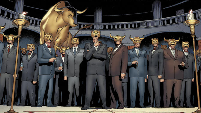 """This image provided by Valiant Comics shows a panel featuring """"The One Percent"""" from the first issue of """"Archer & Armstrong.""""  """"Archer & Armstrong"""" _ an odd couple of an ancient immortal and a home-schooled and well-trained teenager acting as a fist of God _ find themselves at the cabal's mercy deep under Wall Street in ancient crypt where they find out about a plot to stabilize the euro _ and boost profits, too _ by destroying Greece. (AP Photo/Courtesy Valiant Comics)"""