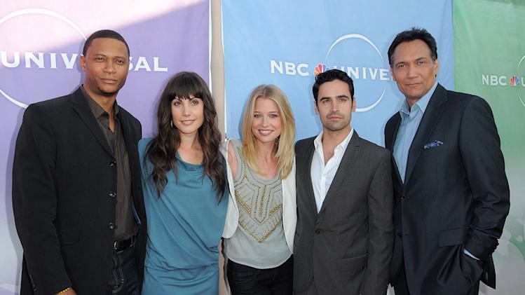 """Outlaw's"" David Ramsey, Carly Pope, Ellen Woglom, Jesse Bradford, and Jimmy Smits arrive at NBC Universal's 2010 TCA Summer Party on July 30, 2010 in Beverly Hills, California."