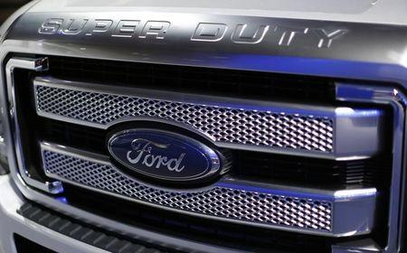 Front grille of a 2015 Ford Super Duty pickup  at Auto Show in Washington