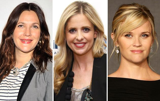Celebrity moms Drew Barrymore, Sarah Michelle Gellar, and Reese Witherspoon