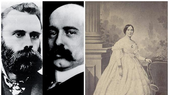 FILE- This combination of undated Associated Press file photos, shows from left, Charles Dow, Wall Street Journal editor, and Edward Jones, who co-founded the Dow Jones Company, and right, Mrs. Jefferson Davis. The Dow Jones industrial average debuted on May 26, 1896, with 12 companies, including American Tobacco, Distilling & Cattle Feeding and General Electric. On the same day, the Confederate Literary Association in Richmond, Va., had a reception with Mrs. Jefferson Davis. (AP Photo/File)