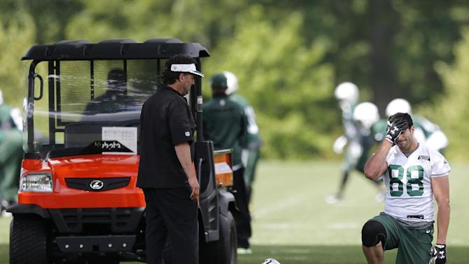 Jets' Amaro leaves practice with apparent back injury