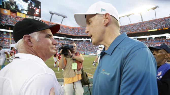 Miami Dolphins head coach Joe Philbin, right, and Atlanta Falcons head coach Mike Smith congratulate each other after the Dolphins defeated the Atlanta Falcons 27-23 in an NFL football game, Sunday, Sept. 22, 2013, in Miami Gardens, Fla. (AP Photo/Wilfredo Lee)