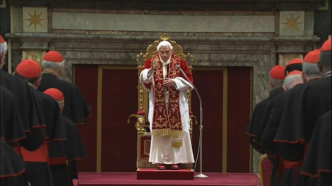 "In this image taken from video as Pope Benedict XVI deliveres his final greetings to the assembly of cardinals at the Vatican Thursday Feb. 28, 2013, before he retires in just a few hours.  Benedict urged the cardinals to work in unity and promised his ""unconditional reverence and obedience"" to his successor in his final words to his cardinals Thursday in a poignant and powerful farewell before he becomes the first pope in 600 years to resign. (AP Photo/Vatican TV)"