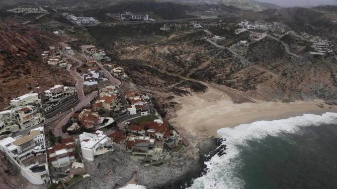A general view shows damaged houses in San Jose del Cabo