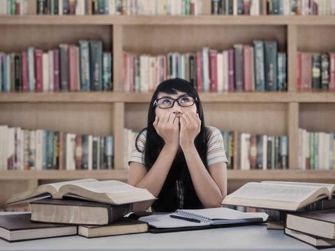 student anxious library