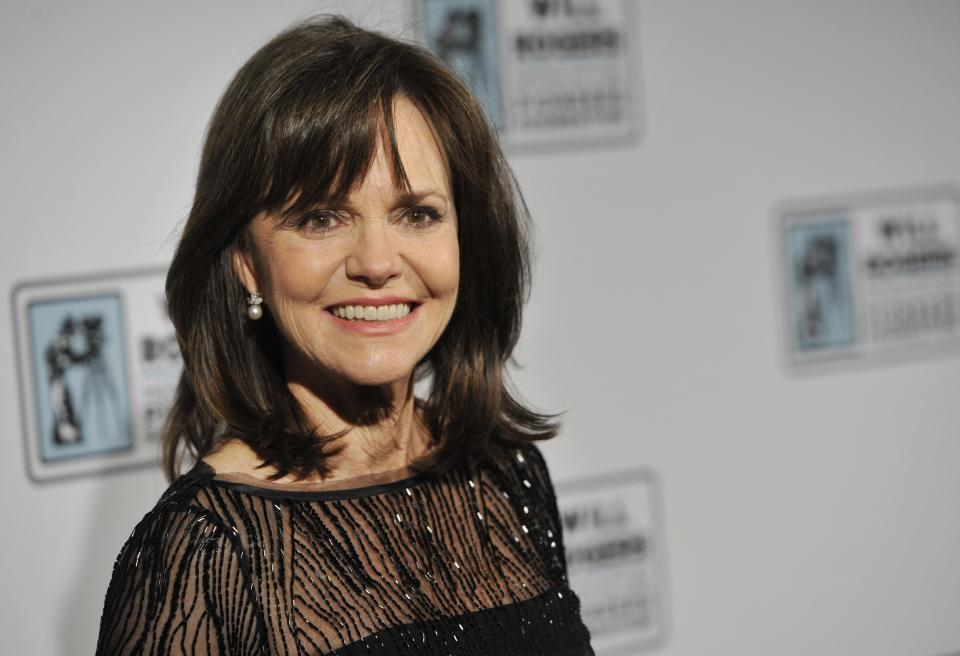 Actress Sally Field poses at the Pioneer of the Year Dinner honoring film producer Kathleen Kennedy at CinemaCon 2013 at Caesars Palace on Wednesday, April 17, 2013 in Las Vegas. (Photo by Chris Pizzello/Invision/AP)