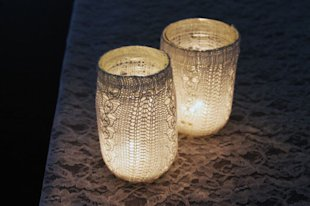 Mason Jar Candles: Gotta have a mason jar in here! For a gorgeous take on lighting, wrap your mason jars with sweaters.