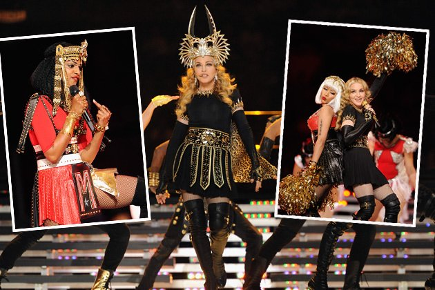 Madonna performt mit Nicki Minaj und Stinkefinger-M.I.A. beim Super Bowl (Bilder: Getty Images)