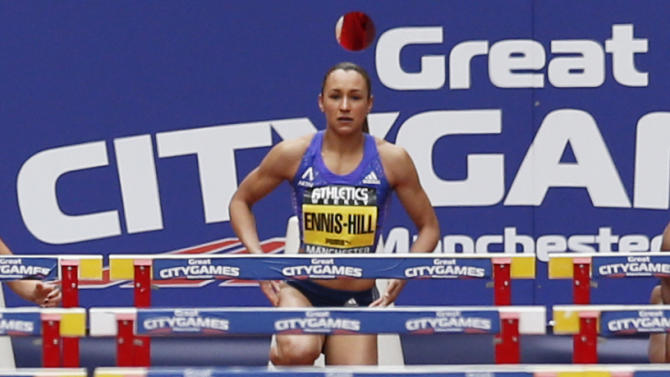 Athletics: Great Britain's Jessica Ennis Hill before the start of the women's 100m hurdles