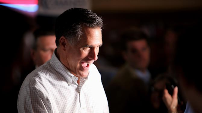Republican presidential candidate, former Massachusetts Gov. Mitt Romney campaigns at Pancakes Eggcetera, Friday, March 16, 2012, in Rosemont, Ill.  (AP Photo/Robert Ray)