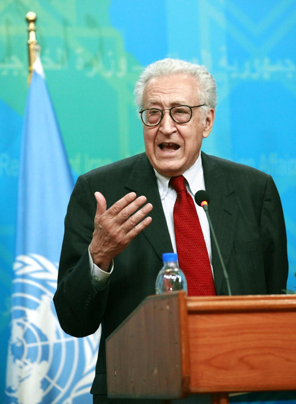 U.N. envoy on Syria, Lakhdar Brahimi speaks during a joint press conference with Hoshyar Zebari, unseen, in Baghdad, Iraq, Monday, Oct. 15, 2012. (AP Photo/Hadi Mizban)