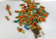 This handout photo released by Korea Customs Service shows capsules filled with powdered human flesh in Daejeon. South Korea has intensified a crackdown on the smuggling of capsules from China containing the powdered flesh of dead babies, taken by some as a cure for disease or a way to boost sexual performance