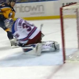 Henrik Lundqvist turns away Steve Ott