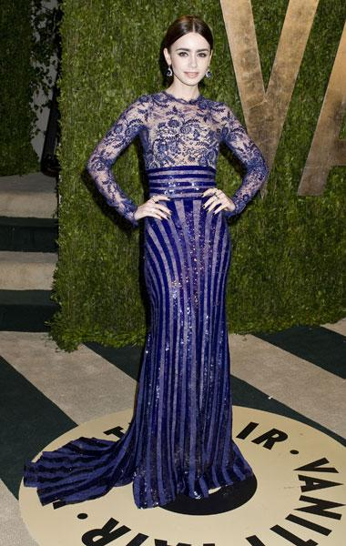 Best dressed: Lily Collins Mirror Mirror Zuhair Murad Vanity Fair Party Image © Rex
