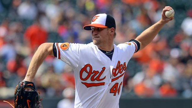 Baltimore Orioles relief pitcher Troy Patton throws against the Toronto Blue Jays during the tenth inning of their MLB American League baseball game in Baltimore, Maryland April 24 (Reuters)