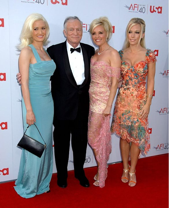 Holly Madison, Hugh Hefner, Bridget Marquardt and Kendra Wilkinson at the 35th Annual AFI Life Achievement Award: A Tribute to Al Pacino.
