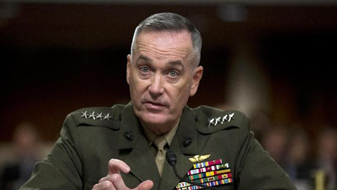 Marine Gen. Joseph Dunford, Jr. testifies on Capitol Hill in Washington, Thursday, Nov. 15, 2012, before the Senate Armed Services Committee hearing on his confirmation to be the commander of the International Security Assistance Force and to be commander of the U.S. Forces, Afghanistan. Dunford would replace Gen. John Allen, who is the subject of a Pentagon investigation for potentially inappropriate communications.  (AP Photo/Manuel Balce Ceneta)