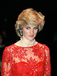 Diana, Princess of Wales on a visit to the ballet in Oslo wearing a red silk taffeta evening dress designed by fashion designer Jan Van Velden (Photo by Tim Graham/Getty Images)