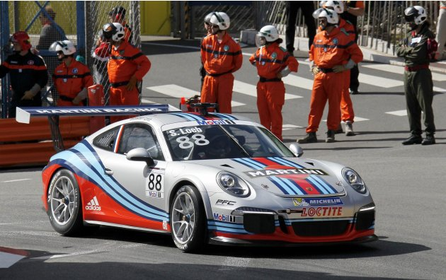 France's driver Loeb drives his car before the qualifying session of the Porsche Supercup in Monaco