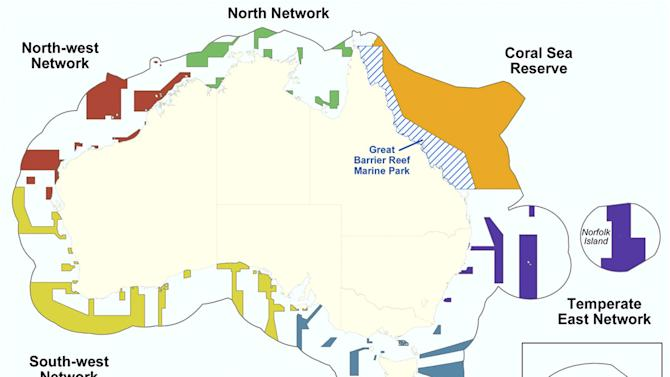 This graphic released by Department of Sustainability, Environment, Water, Population and Communities shows the proposed Commonwealth marine reserves areas around Australia. Australia announced Thursday, June 14, 2012, the creation of the world's largest network of marine reserves covering 3.1 million square kilometers (1.2 million square miles) of ocean including the entire Coral Sea. Environment Minister Tony Burke said the government expects to pay an estimated 100 million Australian dollars ($100 million) to the fishing industry in compensation for the new restrictions on their operations that will take effect late this year. (AP Photo/Department of Sustainability, Environment, Water, Population and Communities)