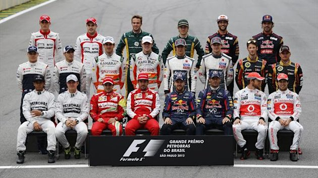 Formula One drivers pose for a group picture ahead of the Brazilian F1 Grand Prix in 2013 (Reuters)